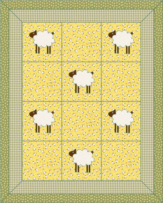 082f476a1110f4 Instant Pattern - PDF - Counting Sheep Quilt - Lamb - Simple Quilt - Lap  Quilt - Quilt Pattern - Pa