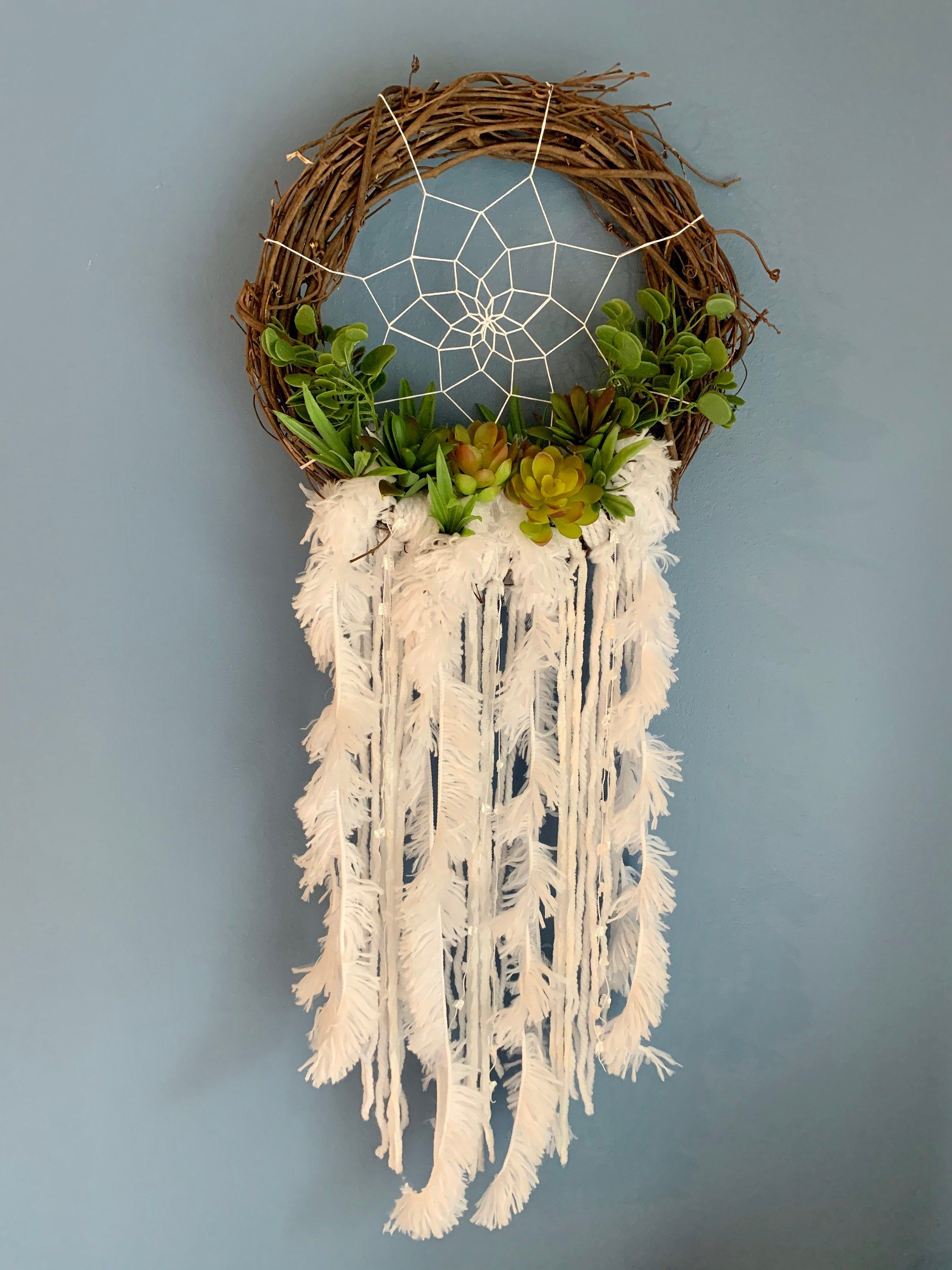 Photo of Succulent Grapevine dream catcher | Small dreamcatcher wall hanging | Shabby chic dreamcatcher | White | Unique