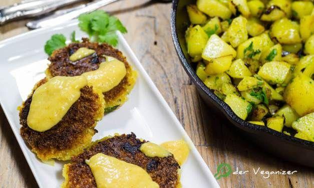 Quinoabratlinge mit Kartoffel-Koriander-Pfanne