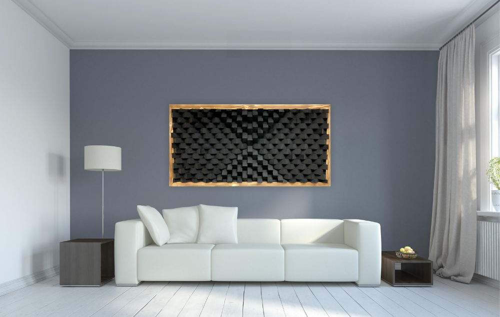 Black Sound Diffuser Acoustic Panel Wall Art Etsy Acoustic Wall Panels Acoustic Panels Large Wood Wall Art