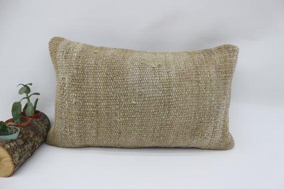 Antique Kilim Pillow, 12x20 Home Decor Pillow, Neck Pillow,Hemp Pillow Cover,Throw Pillow,Patio Pill