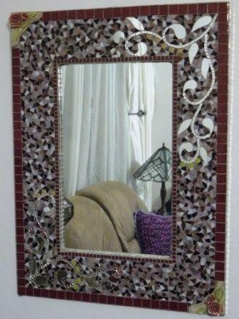 Large Rectangular mosaic mirror | Espejos en la sala