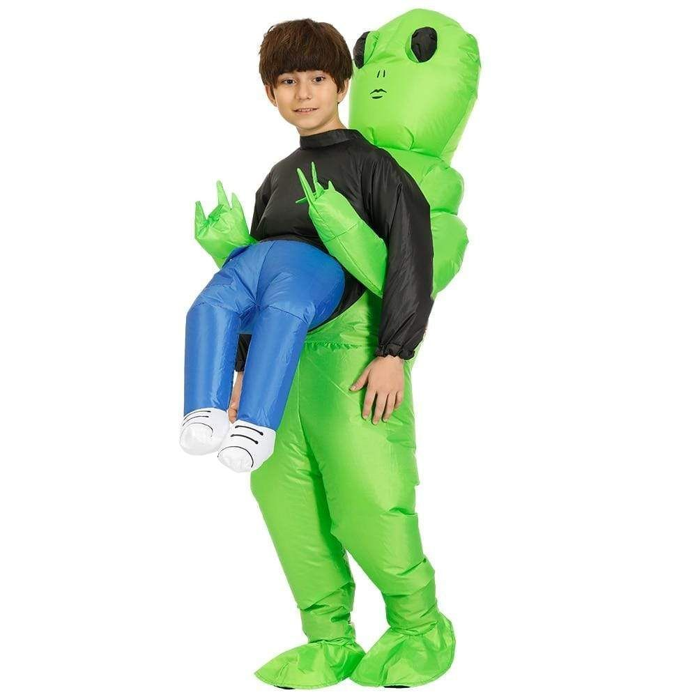 Green Alien Carrying Human Costume - Kids #area51partyoutfit Green Alien Carrying Human Costume - Kids #area51partyoutfit