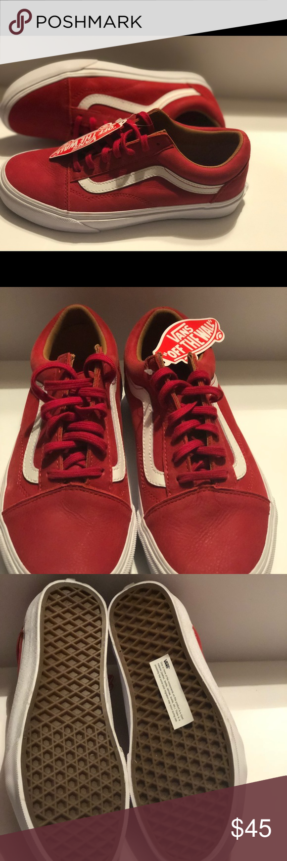 f49e5613d9346e Red leather Vans Vans Old Skool Premium Leather Racing Shoes Red Mens 5.0  Women s 6.5 Vans Shoes Sneakers