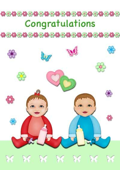 Free printable baby twins cards - my-free-printable-cards - free congratulation cards