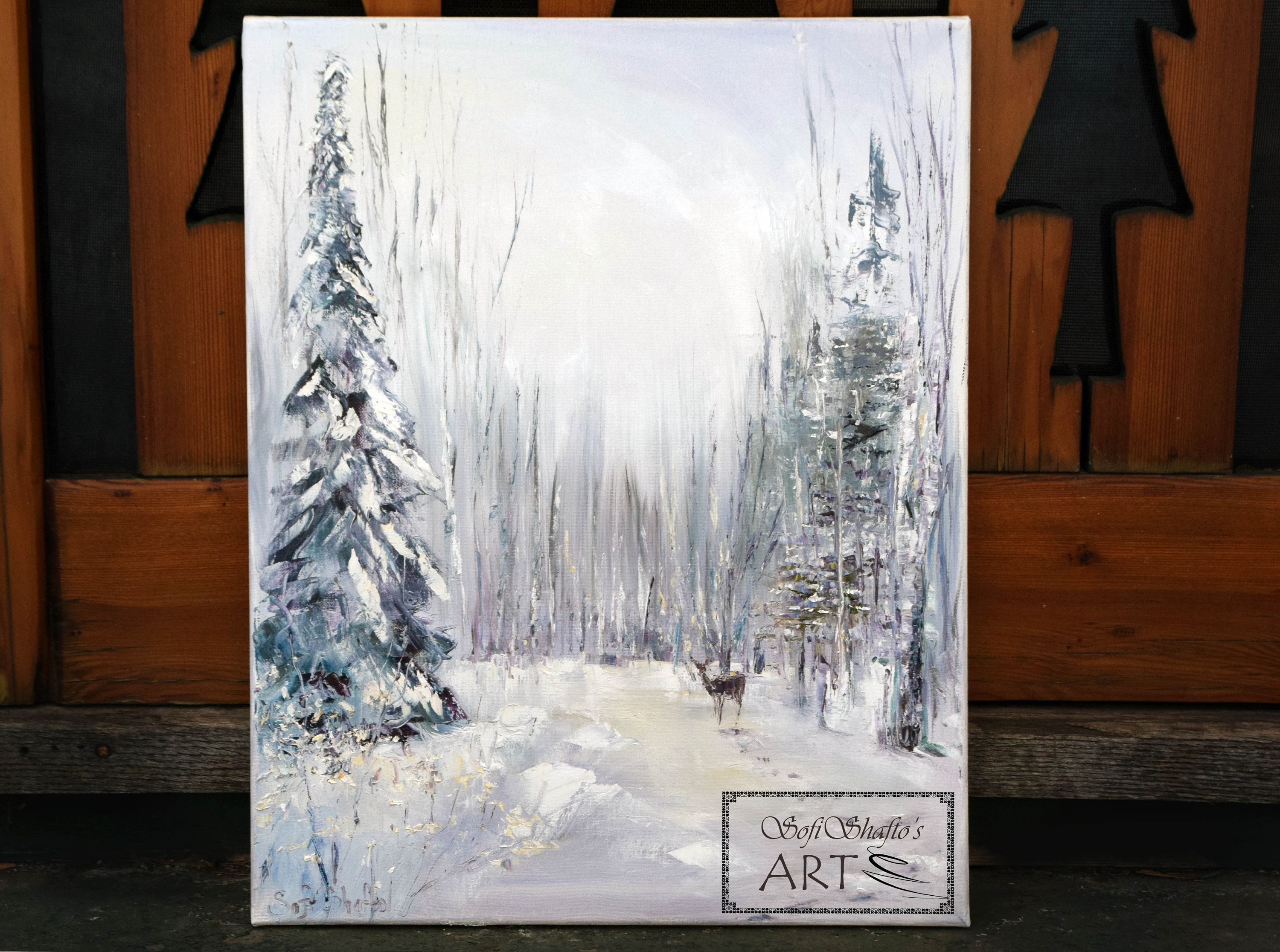 Winter Landscape Original Oil Painting On Canvas 16x20 Etsy Painting Oil Painting On Canvas Original Oil Painting