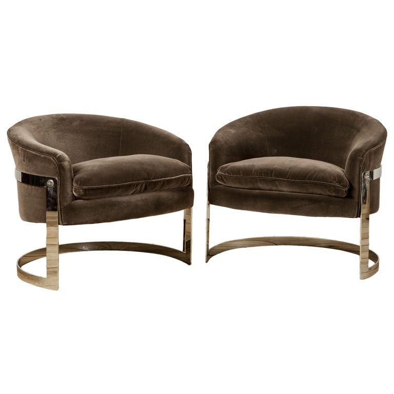 Amazing Fab 1970u0027s Milo Baughman Curved Tub Chairs