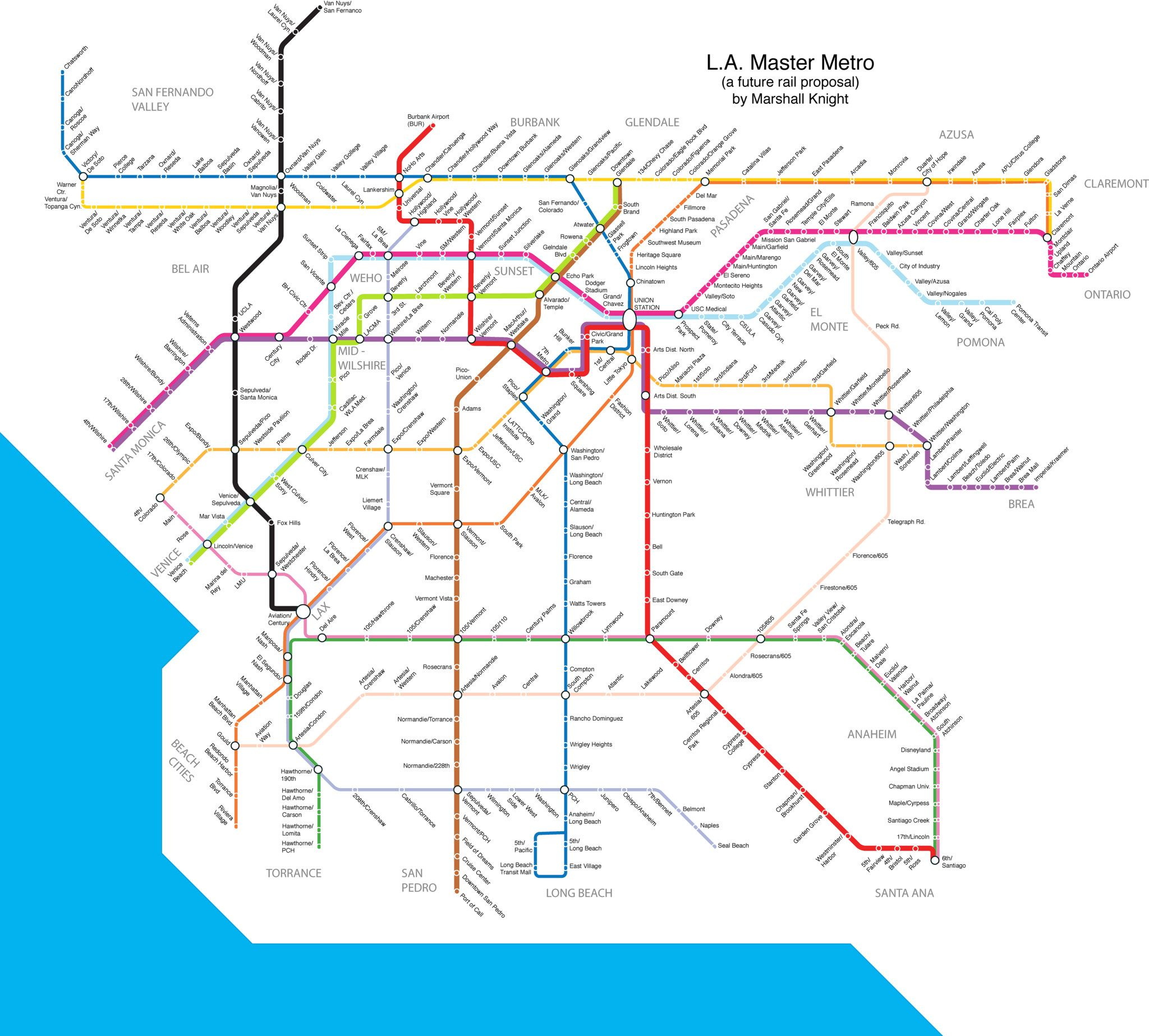 Las Angeles Underground Subway Map.Los Angeles Master Metro A Future Rail Proposal Travel Subway