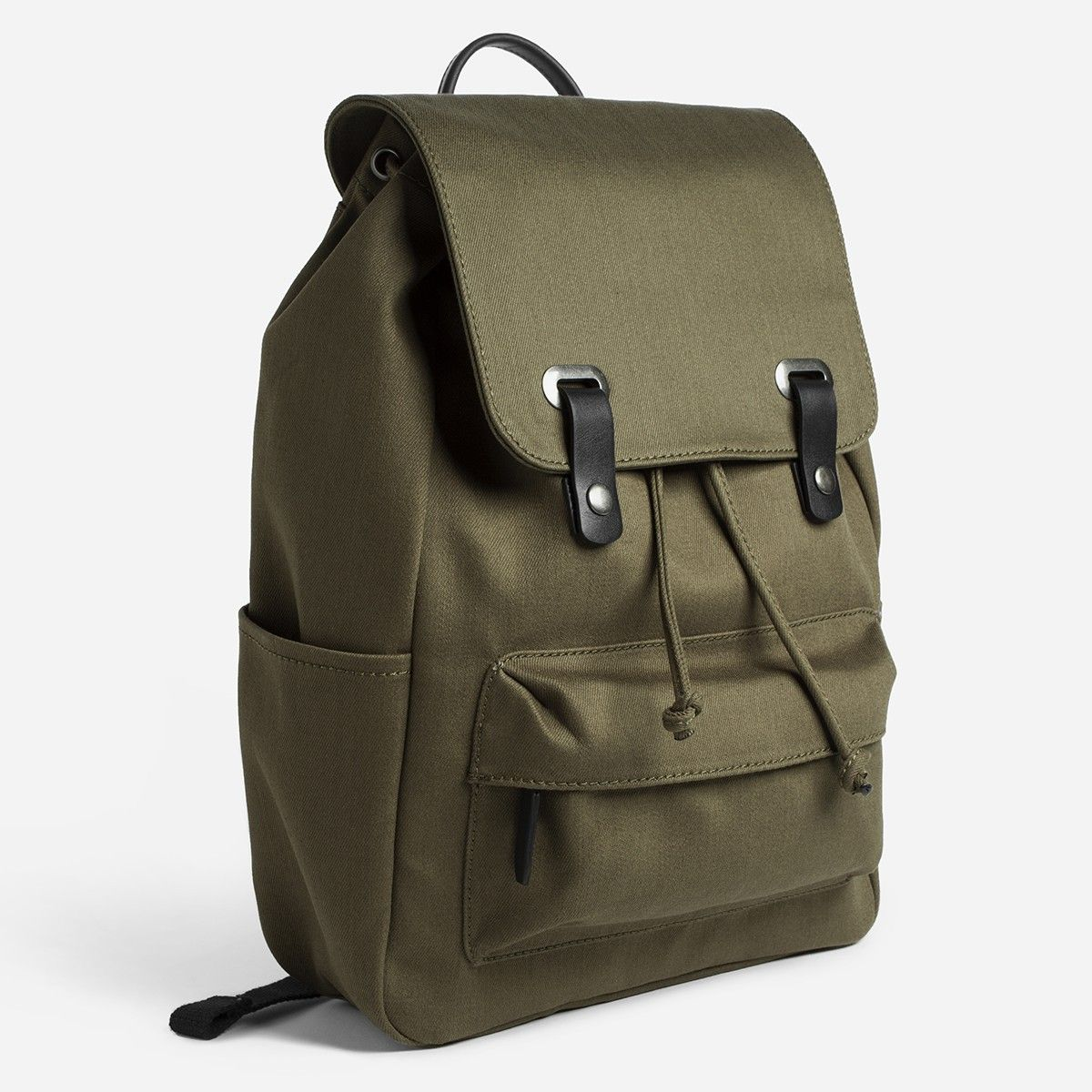The Twill Snap Backpack - Olive + Black Leather by Everlane   Spring - Free Shipping. On Everything.