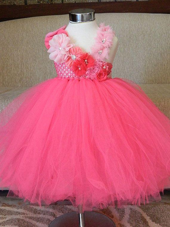 Caliente rosa flores niña vestido del tutú por FunkidsandUsBoutique ...