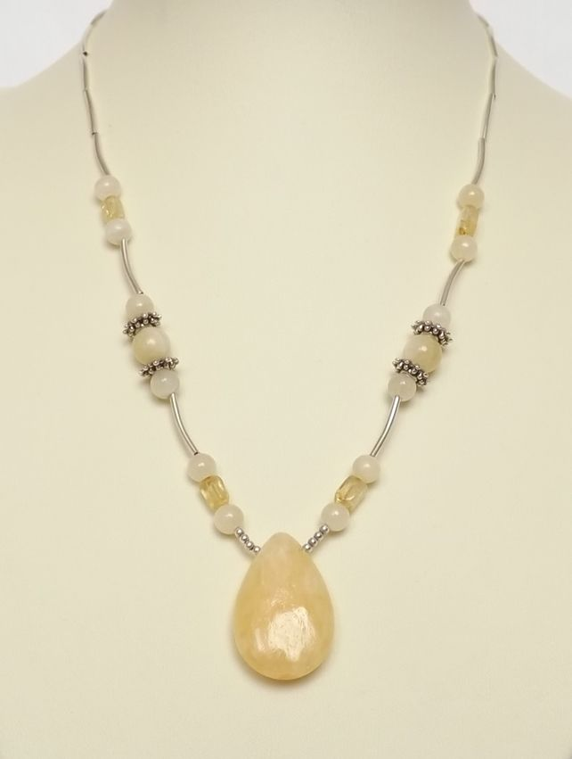 Honey Lemon Jade And Yellow Moonstone Necklace £18.00