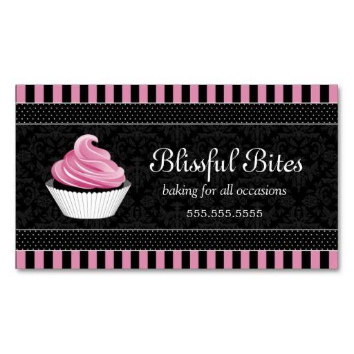 Elegant Damask Cupcake Bakery Business Card Zazzle Com