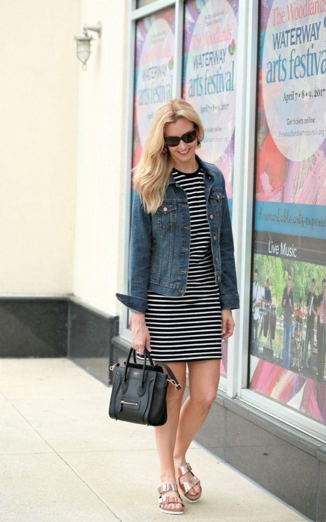 8a5b45c628 Striped Dress and Denim Jacket