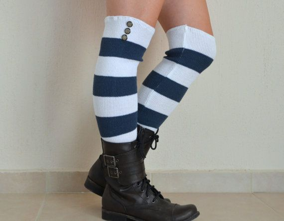 331d6166c34 White and navy blue stripe leg warmers buttons lace leg warmers high knee  socks women s fashion over the knee socks