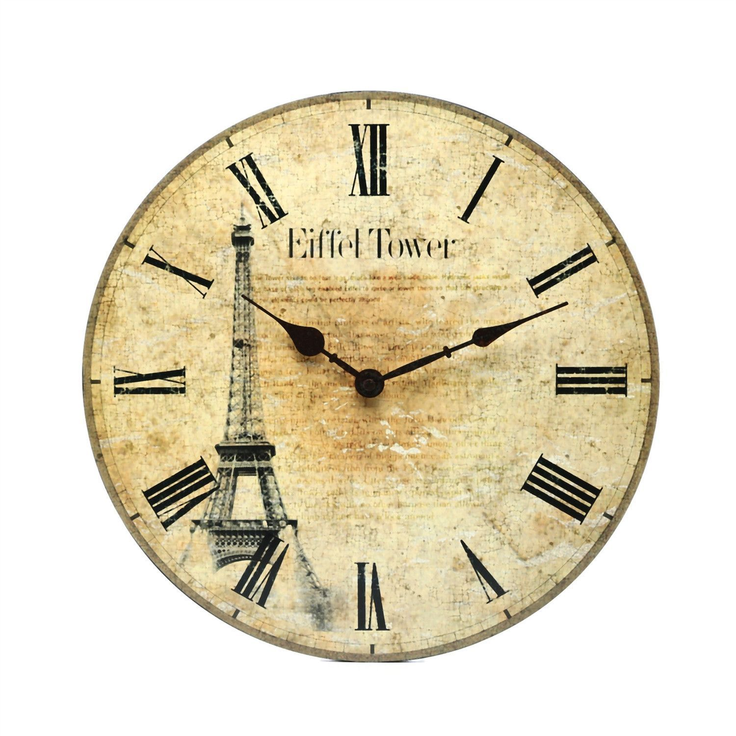 Worn Face Paris Wall Clock With Roman Numerals | Wall clocks, Roman ...