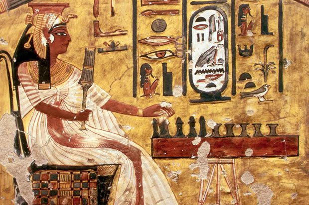 "Ancient Egyptians loved board games. Several different games were played, including ""Mehen"" and ""Dogs and Jackals,"" but perhaps the most popular was a game of chance known as ""Senet."" This pastime dates back as far as 3500 B.C. and was played on a long board painted with 30 squares."