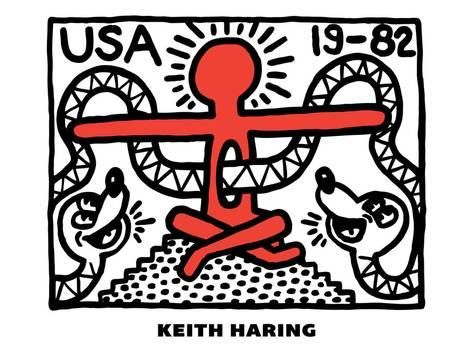 Giclee Print Untitled Pop Art By Keith Haring 24x18in With