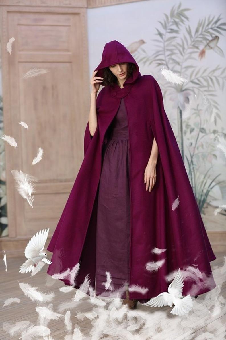 elven cape Christmas gift velvet pink medieval cape Long cape