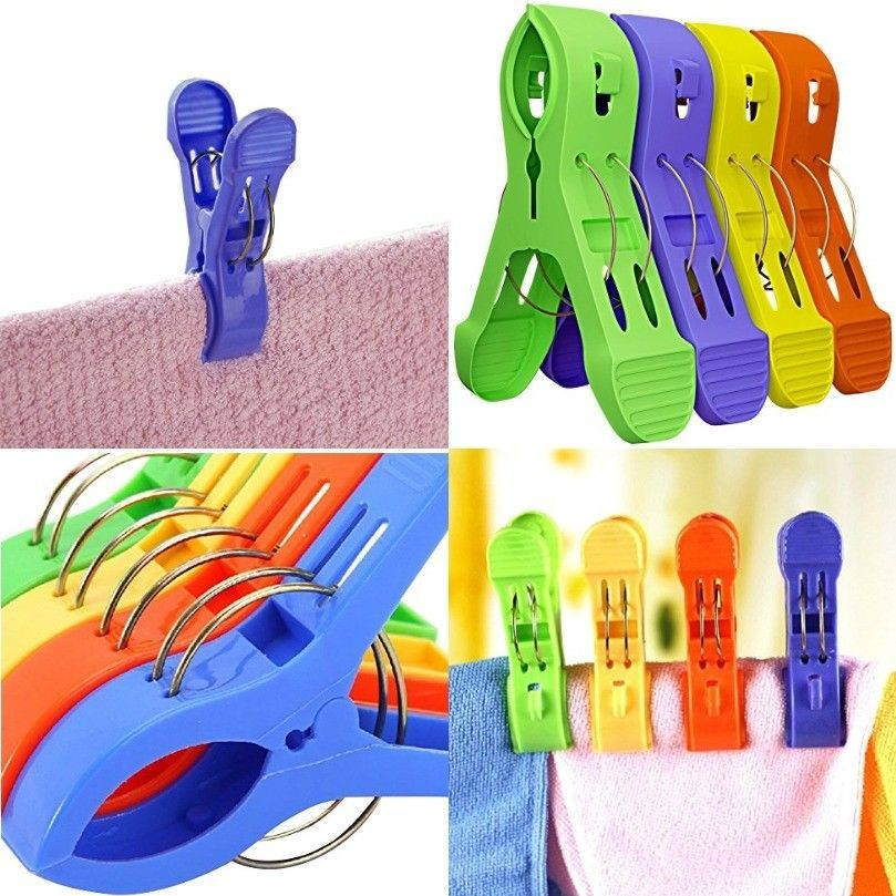 12pcs Colorful Beach Chair Towels Clips Durable Plastic Pool