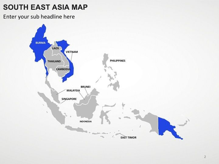 Completely Editable PowerPoint South East Asia Map For Impressive - Map for powerpoint presentation