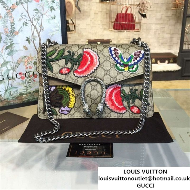 bd01a7bb065 Gucci Dionysus GG Supreme Canvas Butterfly and Flowers Embroidery Medium  Shoulder Bag Fall Winter 2016 Collection Beige Suede Beige
