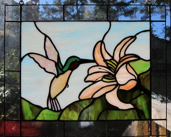 Stained Glass Hummingbird and Coral Flower on Etsy, $179.00