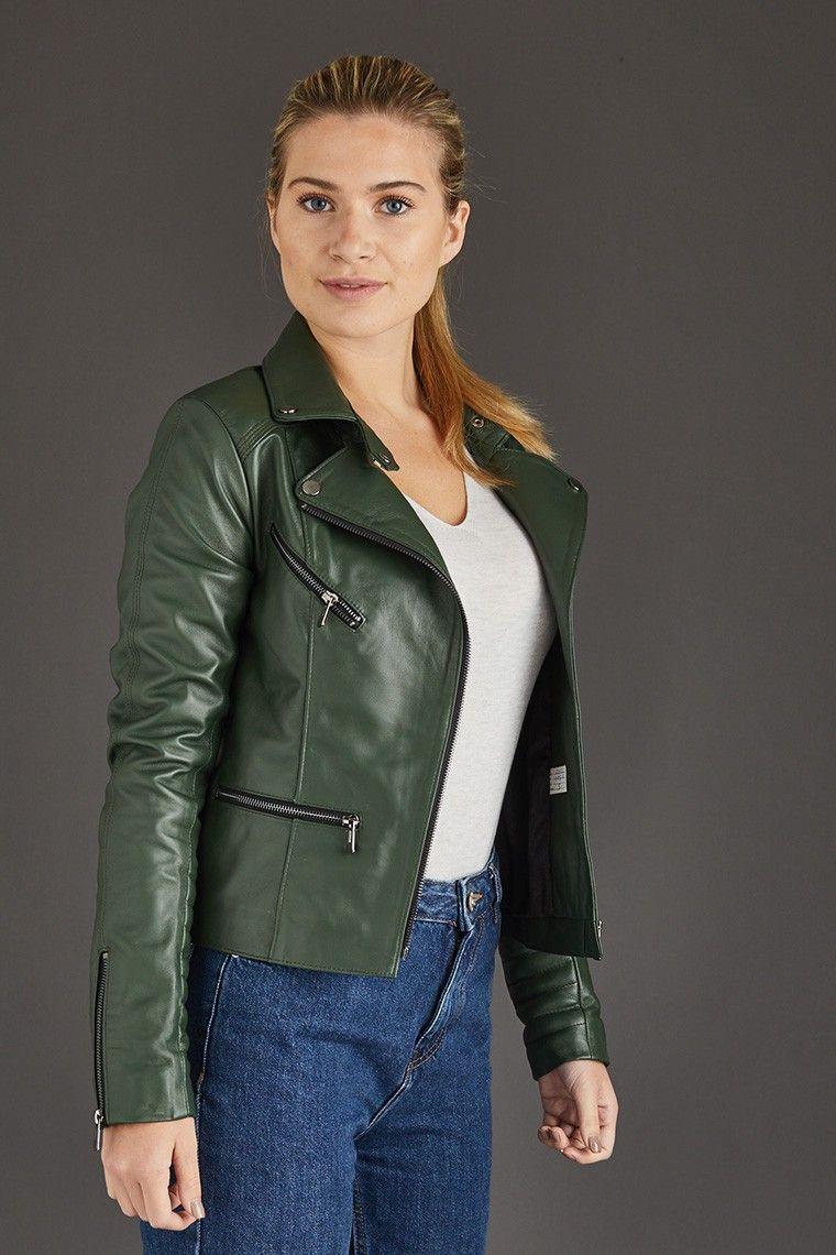 Soft Lamb Leather Biker Jacket In Green Asymmetrical Zip To The Front Horizontal Zipped Pocke Leather Jackets Women Womens Leather Jacket Outfit Leather Jacket [ 1140 x 760 Pixel ]