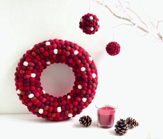Photo of Red Felt ball Wreath. Christmas Wreath. XMAS Wreath. Modern Wreath. Holiday Wreath. Door Wreath