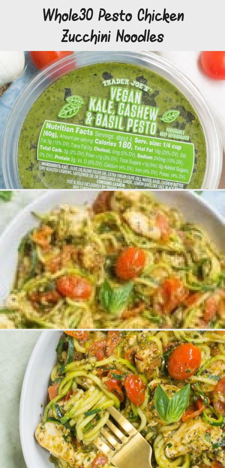 Whole30 Pesto Chicken Zucchini Noodles Whole30 Pesto Chicken Zucchini Noodles are a delicious simple dinner Paleo and gluten free this easy dinner comes together in under...