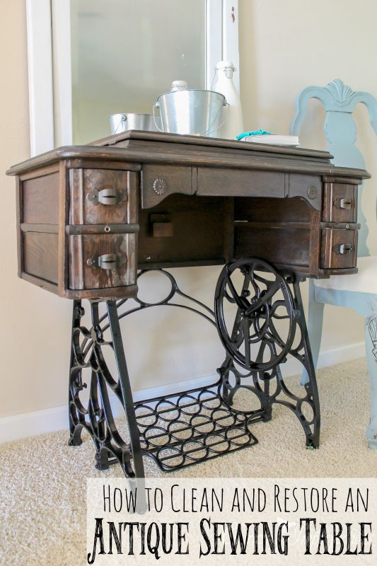 Antique sewing table gets cleaned and restored more cast - Cast iron sewing machine table ...