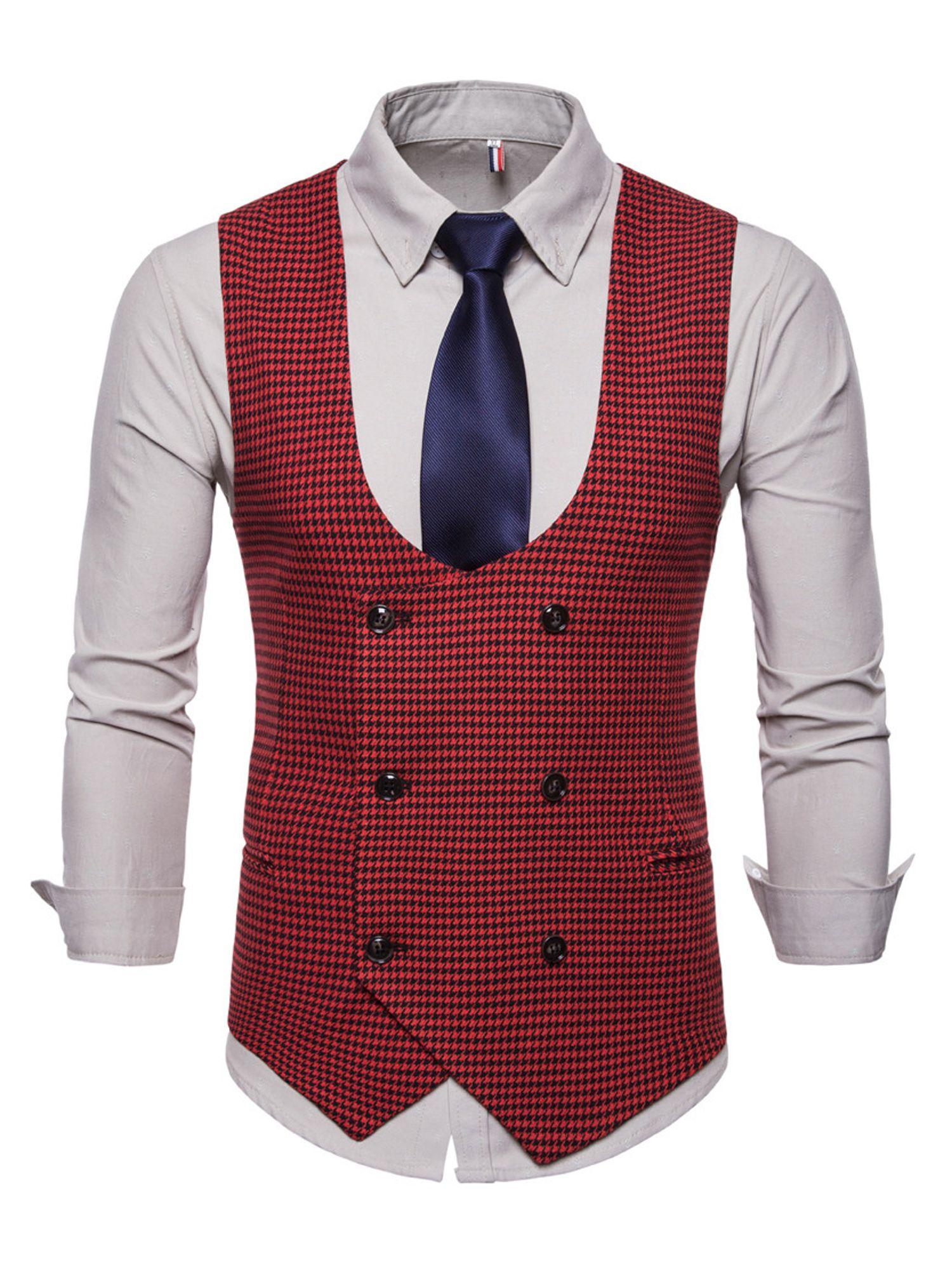 Men S Formal Business Vest Suit Slim Double Breasted Plaid Waistcoat Coat In 2021 Waistcoat Men Mens Vest Casual Mens Suit Vest [ 2000 x 1500 Pixel ]