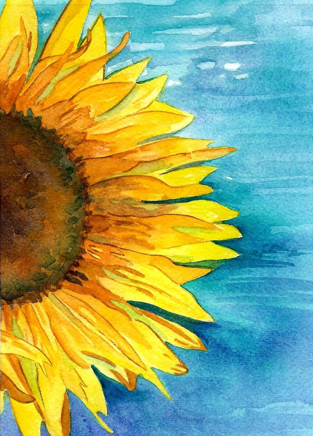 Original Watercolor Sunflower 5x7