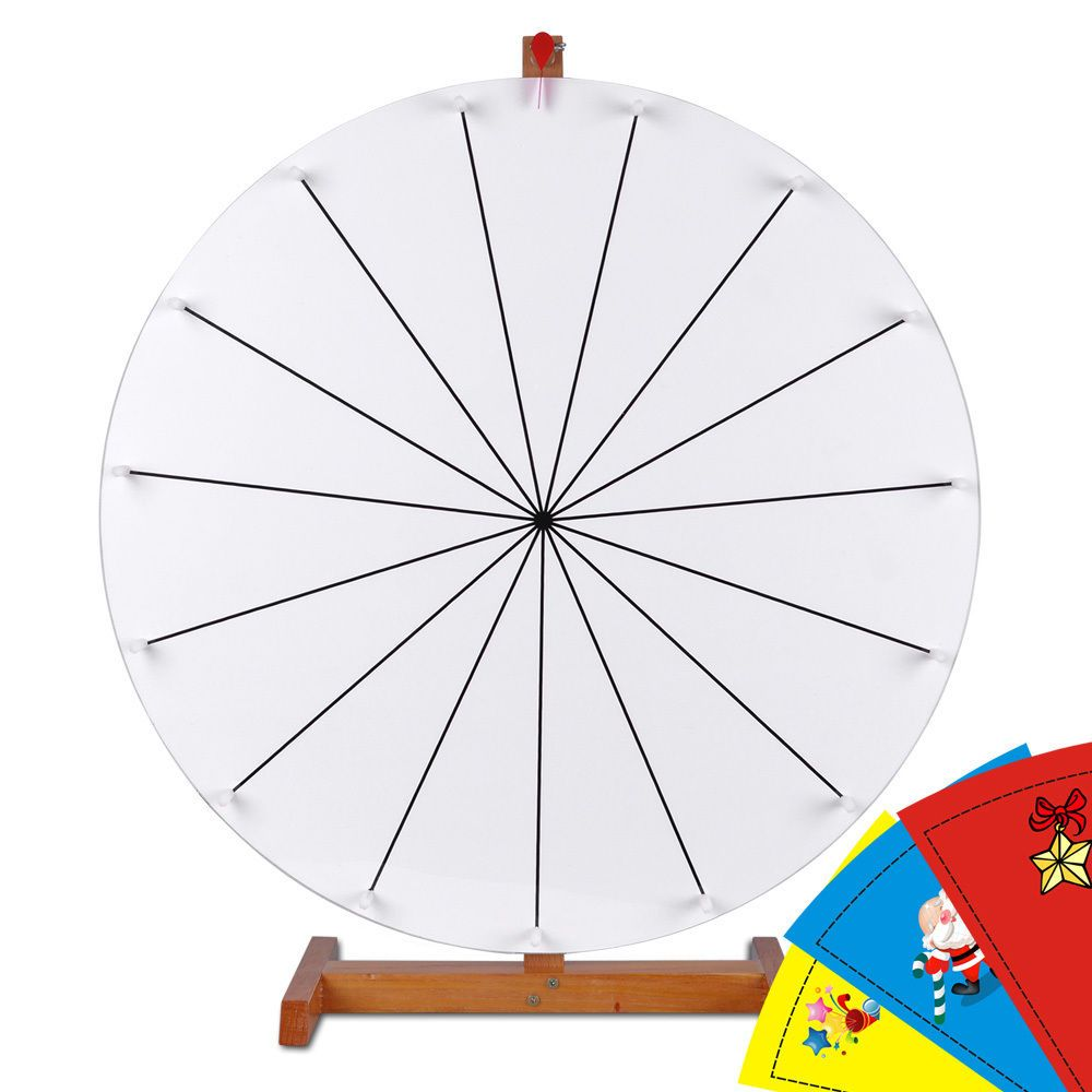 """editable 24"""" wooden base prize wheel diy spin game carnival dry"""