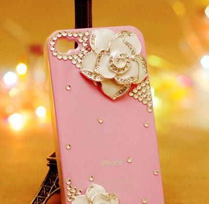 3d Bling Crystal Pink back flower Case,Cover for IPhone 4S(white Camellia)