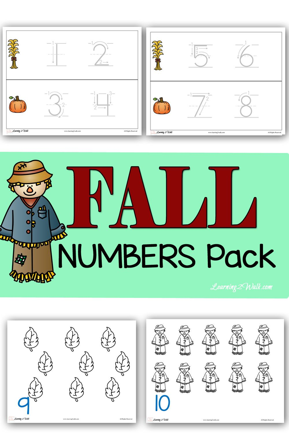 Fall Numbers Printable Pack   Number, Math and Math activities