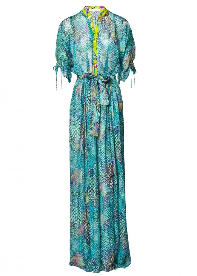 Nothing says holiday like a jumpsuit. Slip it on over your Rainbow Snake print bikini, adding a colourful cocktail ring and chunky heels to take you into the night. Click here to shop the look by Matthew Williamson.