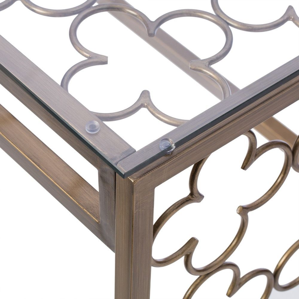 Details about quatrefoil goldtone metal and glass writing desk details about quatrefoil goldtone metal and glass writing desk stylish console table geotapseo Images