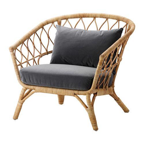 STOCKHOLM 2017 Chair with cushion, rattan, Sandbacka dark gray