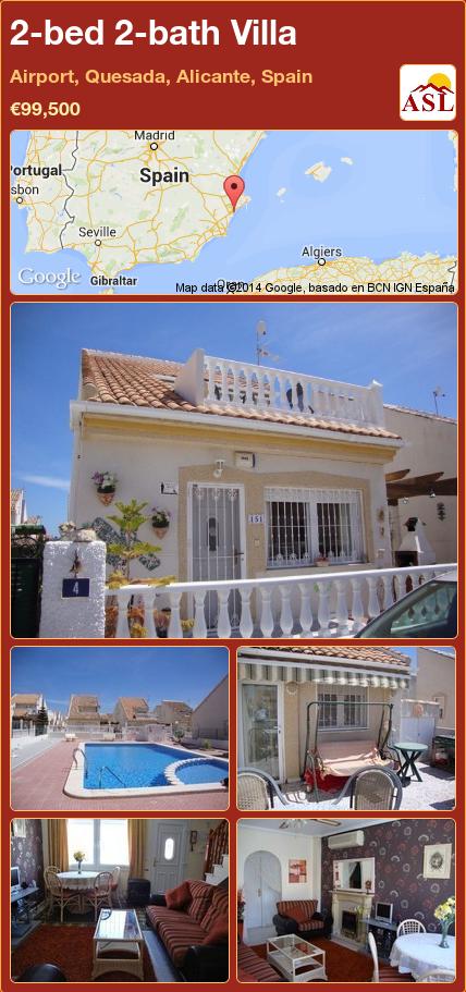 2-bed 2-bath Villa in Airport, Quesada, Alicante, Spain ►€99,500 #PropertyForSaleInSpain