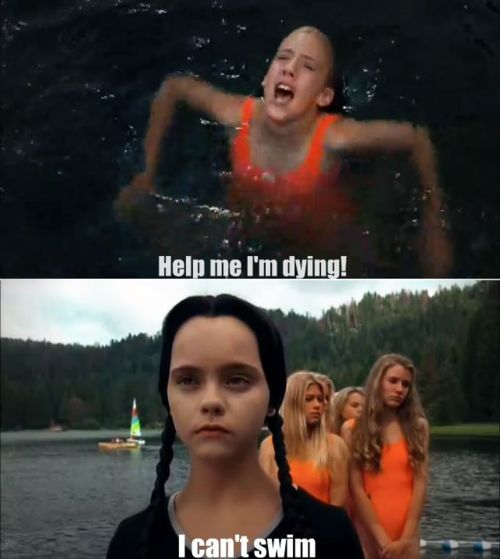 I Can T Swim Addams Family Movie Addams Family Values Funny Meme Pictures