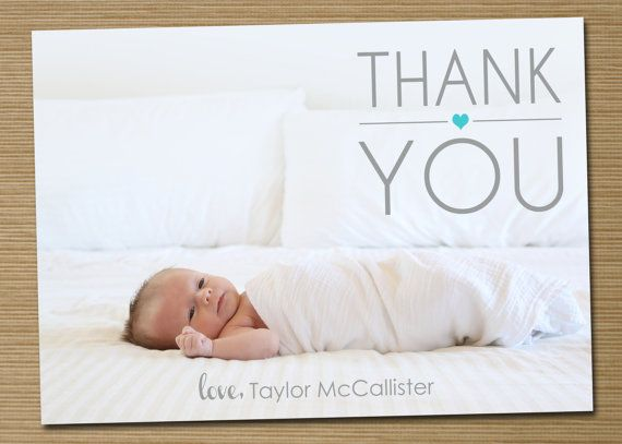 Photo Baby Thank You Card Printable Heart Baby By Cardsetcetera Baby Thank You Cards Baby Photos Baby Announcement Cards
