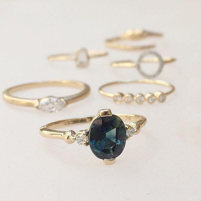 Vale Jewelry oval Montana Sapphire ring with diamonds