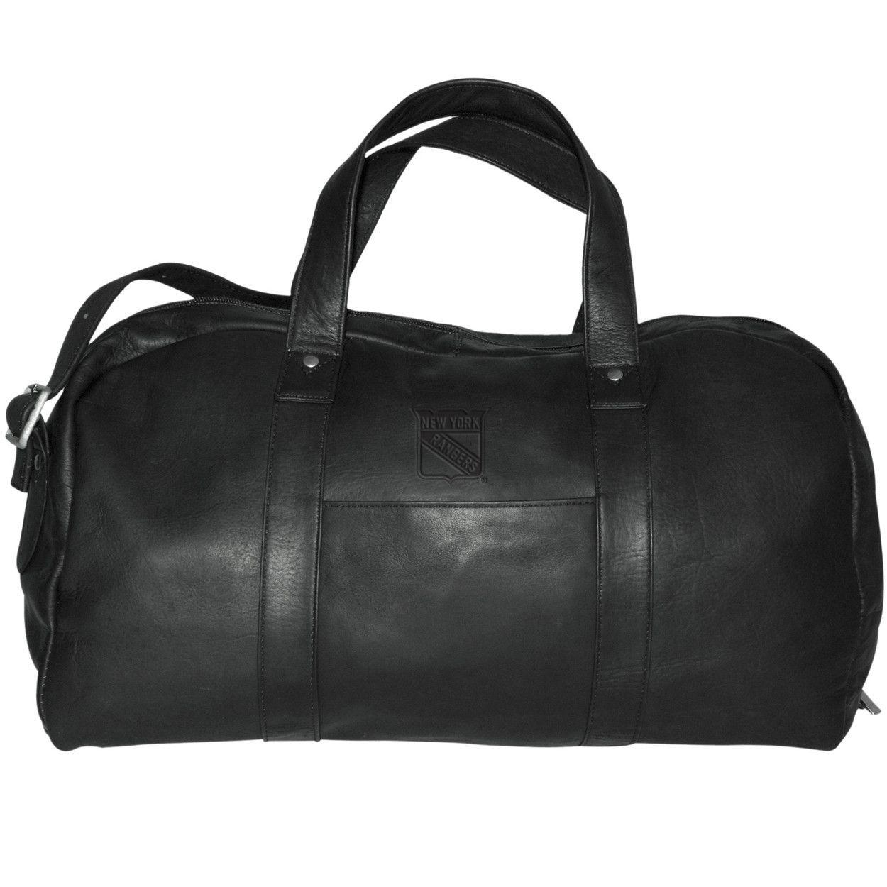 Pangea Black Leather Corey Duffel Bag New York Rangers
