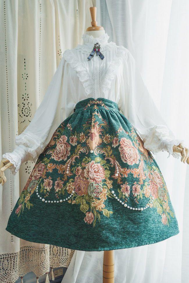 Surface Spell -Spring Flowers- Vintage Classic Lolita Skirt #vintagedresses Surf... 1