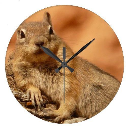 cozy chipmunk large clock   Zazzle.com