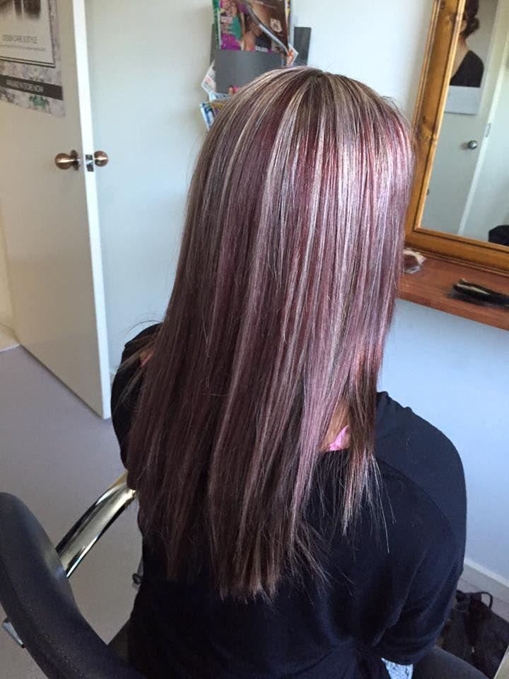 Rich Burgundy Base With Blonde Ash Foils Burgundy Blonde Hair