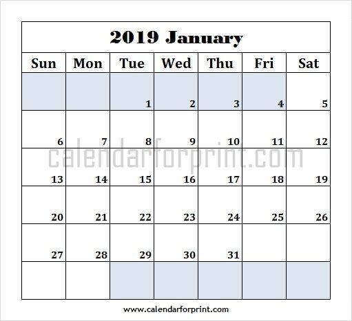 January 2019 Calendar Template Editable January 2019 Calendar