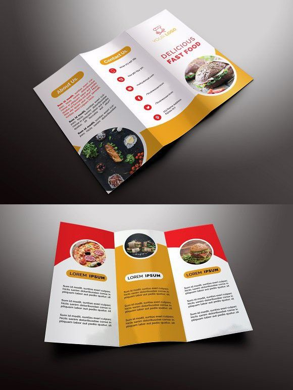 Fast Food Trifold Brochures  Brochures Brochure Template And Tri