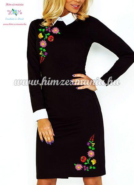 Kalocsai mintás elegáns fekete női ruha fehér gallérral 457d5c9642