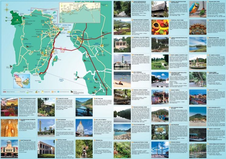 Penang hotels and sightseeings map Maps Pinterest Malaysia